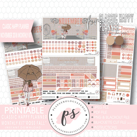 Rose Fall November 2018 Monthly View Kit Digital Printable Planner Stickers (for use with Classic Happy Planner) - Plannerologystudio
