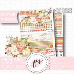 Pumpkin Spice November 2018 Monthly View Kit Digital Printable Planner Stickers (for use with Erin Condren) - Plannerologystudio