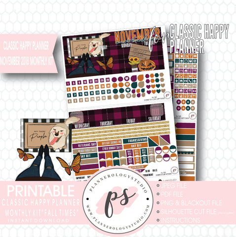 Fall Times November 2018 Monthly View Kit Digital Printable Planner Stickers (for use with Classic Happy Planner) - Plannerologystudio