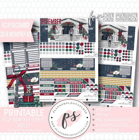 Holly Christmas December 2018 Monthly View Kit Digital Printable Planner Stickers (for use with Erin Condren) - Plannerologystudio