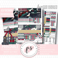 Merry Giftmas Christmas December 2018 Monthly View Kit Digital Printable Planner Stickers (for use with Erin Condren) - Plannerologystudio