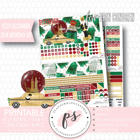 Christmas in NYC December 2018 Monthly View Kit Digital Printable Planner Stickers (for use with Erin Condren) - Plannerologystudio