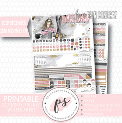 Winter Apres December 2018 Monthly View Kit Digital Printable Planner Stickers (for use with Erin Condren) - Plannerologystudio