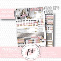 Winter Apres December 2018 Monthly View Kit Digital Printable Planner Stickers (for use with Classic Happy Planner) - Plannerologystudio