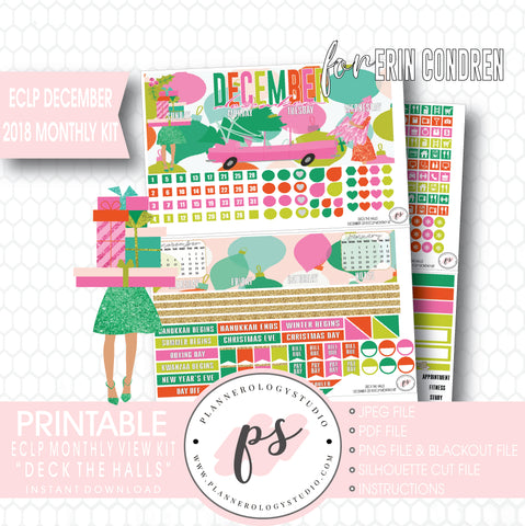 Deck the Halls Christmas December 2018 Monthly View Kit Digital Printable Planner Stickers (for use with Erin Condren) - Plannerologystudio