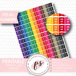 Rainbow Gym Day Flags Printable Planner Stickers - Plannerologystudio