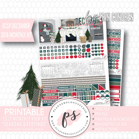 Seasons Greetings Christmas December 2018 Monthly View Kit Digital Printable Planner Stickers (for use with Erin Condren) - Plannerologystudio