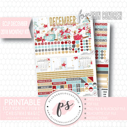 Christmas Magic December 2018 Monthly View Kit Digital Printable Planner Stickers (for use with Erin Condren) - Plannerologystudio