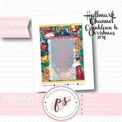 Hallmark Channel 2018 Countdown to Christmas Movies Monthly Notes Page Kit Digital Printable Planner Stickers (for use with Erin Condren or as Printable Insert) - Plannerologystudio
