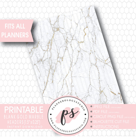 Gold Marble Pattern Blank Header Printable Planner Stickers - Plannerologystudio