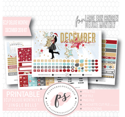 Jingle Bells December 2018 Monthly View Kit Digital Printable Planner Stickers (for use with Erin Condren Large Deluxe Monthly Planner) - Plannerologystudio