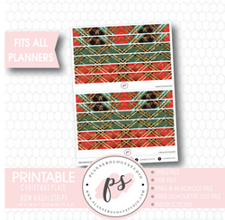 Christmas Plaid Pattern Bow Icon Washi Strip Digital Printable Planner Stickers - Plannerologystudio