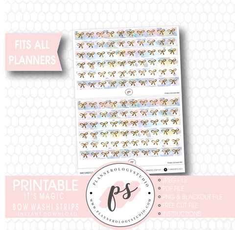 It's Magic Watercolour Pattern Bow Icon Washi Strip Digital Printable Planner Stickers - Plannerologystudio