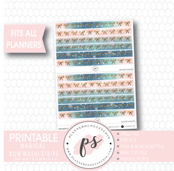 Magical Winter Watercolour Pattern Bow Icon Washi Strip Digital Printable Planner Stickers - Plannerologystudio