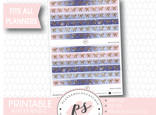 Winter Magic Watercolour Pattern Bow Icon Washi Strip Digital Printable Planner Stickers