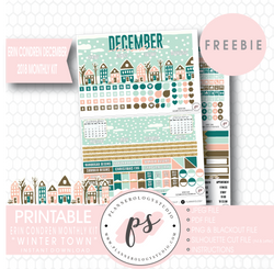 Winter Town ECLP Erin Condren December 2018 Monthly Kit Digital Printable Planner Stickers (PDF/JPG/PNG/Cut File Freebie) - Plannerologystudio