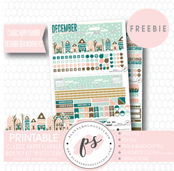 Winter Town Classic Happy Planner December 2018 Monthly Kit Digital Printable Planner Stickers (PDF/JPG/PNG/Cut File Freebie) - Plannerologystudio