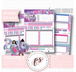 Fireworks New Years Monthly Notes Page Kit Digital Printable Planner Stickers (for use with Erin Condren) - Plannerologystudio