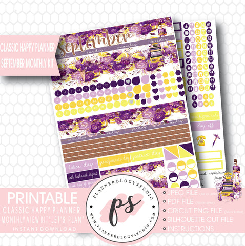 """Let's Plan"" September 2017 Monthly View Kit Printable Planner Stickers (for use with Mambi Classic Happy Planner) - Plannerologystudio"