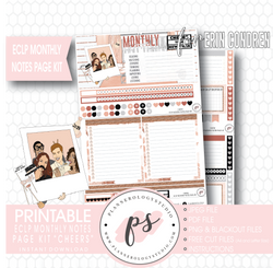 Cheers New Years Monthly Notes Page Kit Digital Printable Planner Stickers (for use with Erin Condren) - Plannerologystudio
