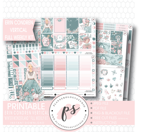 Winter Wonderland Full Weekly Kit Printable Planner Stickers (for use with Erin Condren Vertical) - Plannerologystudio