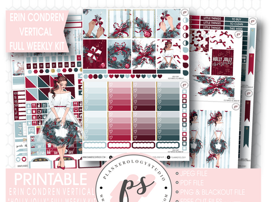 Holly Jolly Christmas Full Weekly Kit Printable Planner Stickers (for use with Erin Condren Vertical) - Plannerologystudio