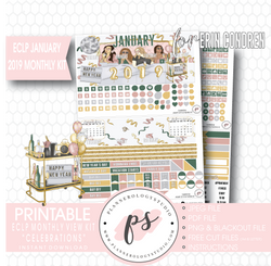 Celebrations New Years January 2019 Monthly View Kit Digital Printable Planner Stickers (for use with Erin Condren) - Plannerologystudio