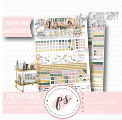 Celebrations New Years January 2019 Monthly View Kit Digital Printable Planner Stickers (for use with Classic Happy Planner) - Plannerologystudio