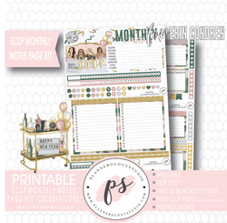 Celebrations New Years Monthly Notes Page Kit Digital Printable Planner Stickers (for use with Erin Condren) - Plannerologystudio
