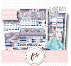 Magical Winter January 2019 Monthly View Kit Digital Printable Planner Stickers (for use with Classic Happy Planner) - Plannerologystudio
