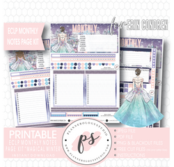 Magical Winter Monthly Notes Page Kit Digital Printable Planner Stickers (for use with Erin Condren) - Plannerologystudio