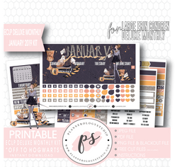 Off to Hogwarts January 2019 Monthly View Kit Digital Printable Planner Stickers (for use with Erin Condren Large Deluxe Monthly Planner) - Plannerologystudio