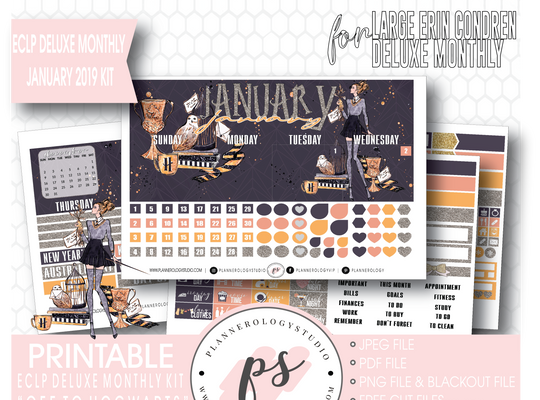 Off to Hogwarts January 2019 Monthly View Kit Digital Printable Planner Stickers (for use with Erin Condren Large Deluxe Monthly Planner)