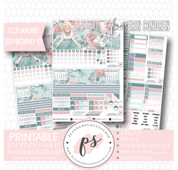 Winter Wonderland January 2019 Monthly View Kit Digital Printable Planner Stickers (for use with Erin Condren) - Plannerologystudio