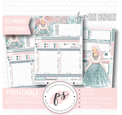 Winter Wonderland Monthly Notes Page Kit Digital Printable Planner Stickers (for use with Erin Condren) - Plannerologystudio