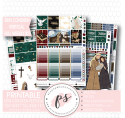 Holy Night Christmas Full Weekly Kit Printable Planner Stickers (for use with Erin Condren Vertical) - Plannerologystudio