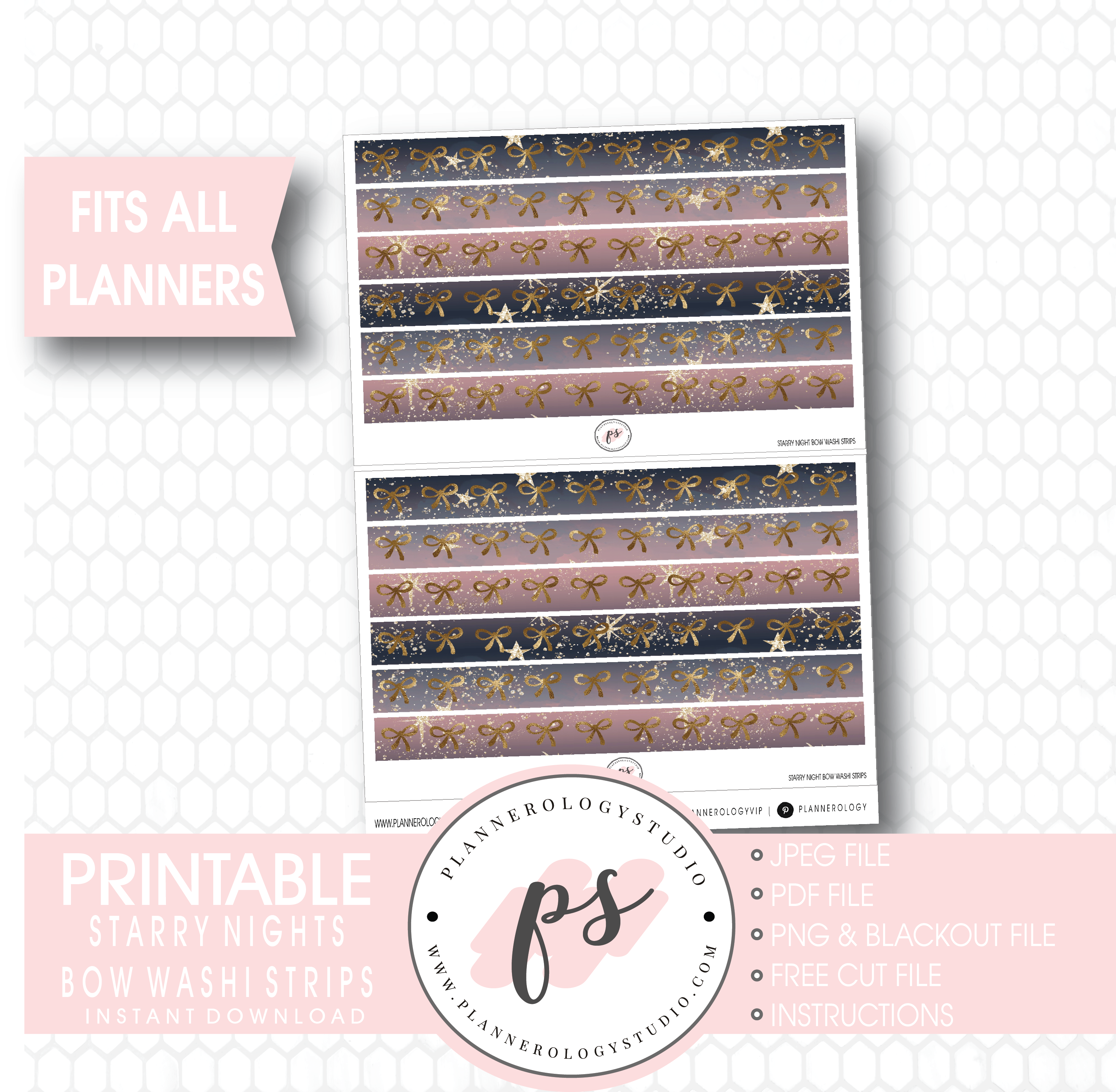picture about Starry Night Printable named Starry Evenings Watercolour Behavior Bow Icon Washi Strip Electronic Printable Planner Stickers