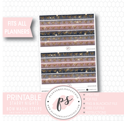 Starry Nights Watercolour Pattern Bow Icon Washi Strip Digital Printable Planner Stickers