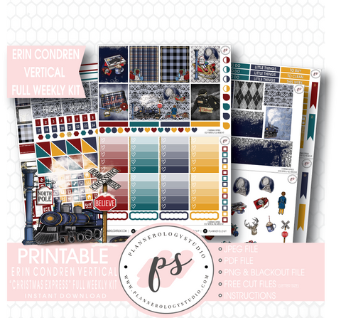 Christmas Express (Polar Express) Full Weekly Kit Printable Planner Stickers (for use with Erin Condren Vertical) - Plannerologystudio