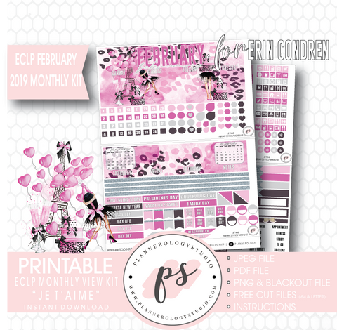 Je T'aime Valentine's Day February 2019 Monthly View Kit Digital Printable Planner Stickers (for use with Erin Condren) - Plannerologystudio