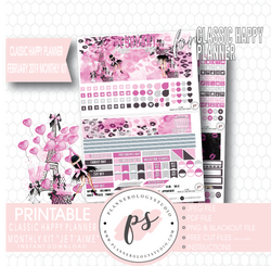 Je T'aime Valentine's Day February 2019 Monthly View Kit Digital Printable Planner Stickers (for use with Classic Happy Planner) - Plannerologystudio