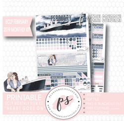 Heart Goes On (Titanic) February 2019 Monthly View Kit Digital Printable Planner Stickers (for use with Erin Condren) - Plannerologystudio