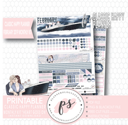 Heart Goes On (Titanic) February 2019 Monthly View Kit Digital Printable Planner Stickers (for use with Classic Happy Planner) - Plannerologystudio