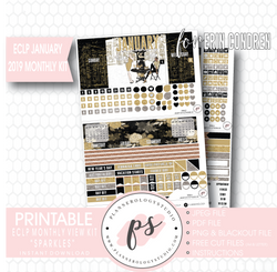 Sparkles New Years January 2019 Monthly View Kit Digital Printable Planner Stickers (for use with Erin Condren)