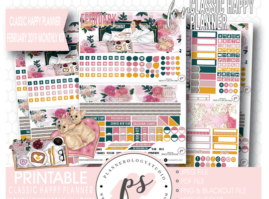 Stay in Love Valentine's Day February 2019 Monthly View Kit Digital Printable Planner Stickers (for use with Classic Happy Planner) - Plannerologystudio