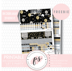 Let's Party ECLP Erin Condren January 2019 Monthly Kit Digital Printable Planner Stickers (PDF/JPG/PNG/Cut File Freebie) - Plannerologystudio
