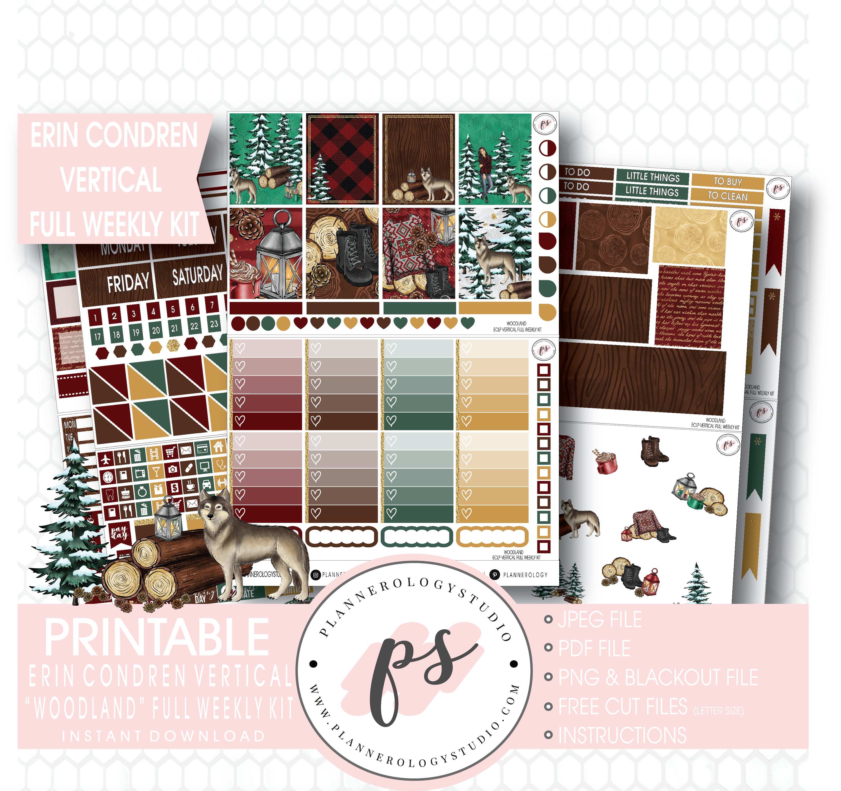 Winter Woodland HORIZONTAL Weekly Kit  130 Matte Planner Stickers  Perfect for your Erin Condren Life Planner  WKH0500