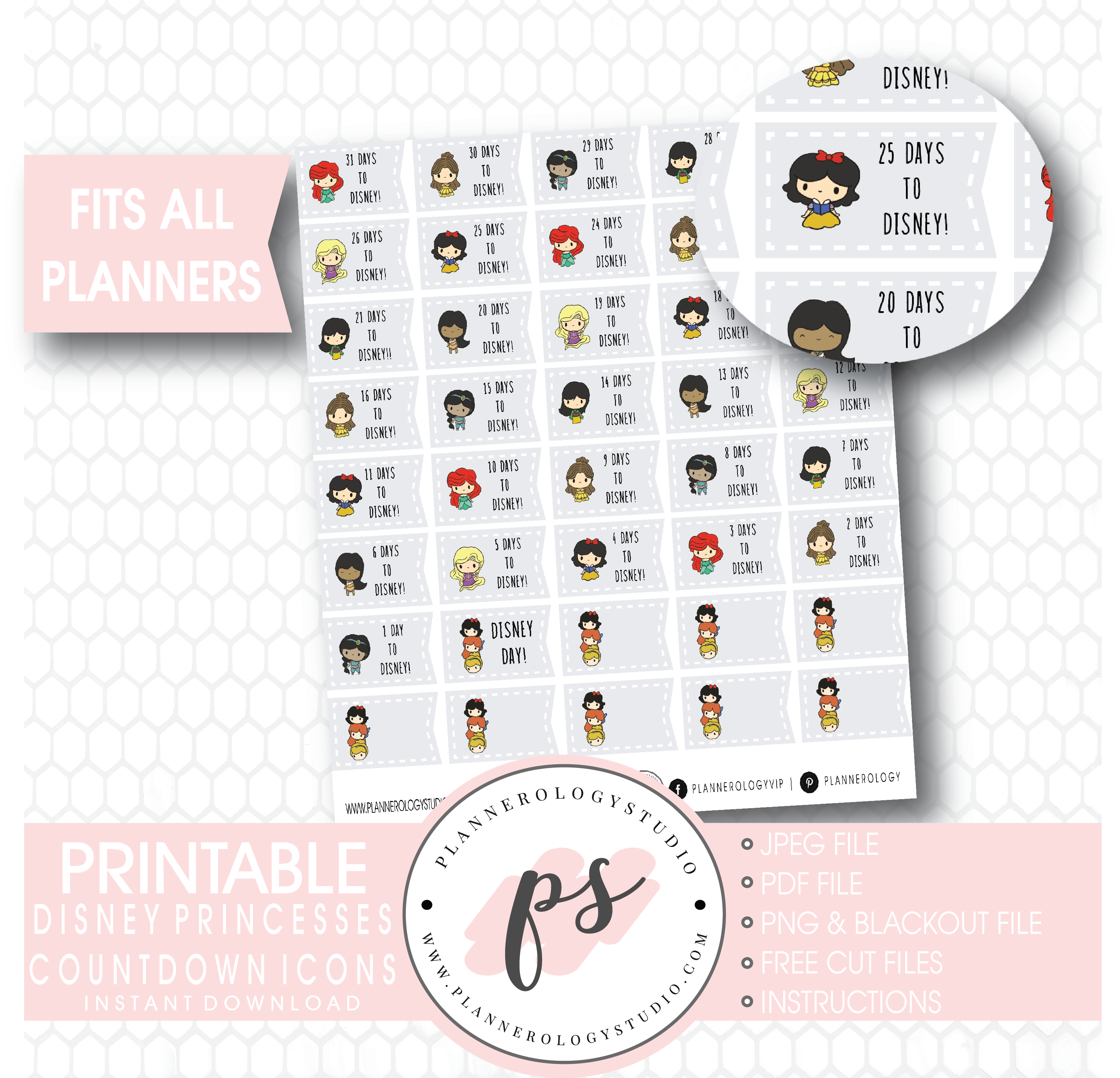 image relating to Disney Countdown Printable titled Disney Princess Countdown Planner Icons Electronic Printable Planner Stickers