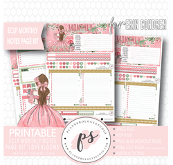 Love Blooms Monthly Notes Page Kit Digital Printable Planner Stickers (for use with Erin Condren) - Plannerologystudio
