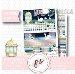 Swan Moon March 2019 Monthly View Kit Digital Printable Planner Stickers (for use with Carrie Elle Planner) - Plannerologystudio